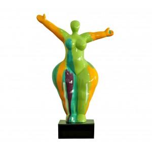 Statue femme debout figurine décoration orange et multicolore style pop art - objet design moderne