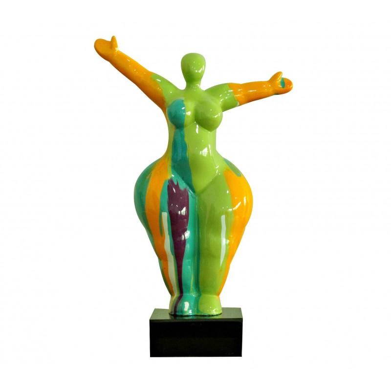 statue femme debout figurine d coration orange et multicolore style pop art objet design moderne. Black Bedroom Furniture Sets. Home Design Ideas