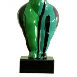 Statue femme debout figurine décoration verte et multicolore style pop art - objet design moderne
