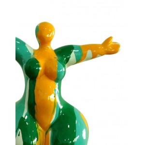 Statue femme debout figurine décoration jaune verte style pop art - objet design moderne