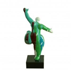 Statue femme figurine danseuse décoration verte multicolore style pop art - objet design moderne