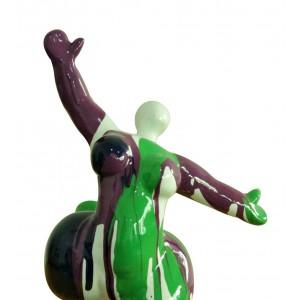 Statue femme figurine danseuse décoration verte marron style pop art - objet design moderne