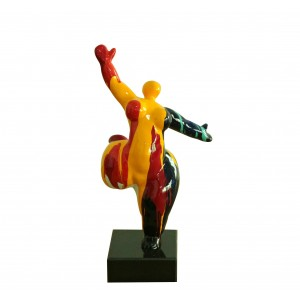 Statue femme figurine danseuse décoration orange style pop art - objet design moderne