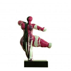 Statue femme figurine danseuse décoration rouge noire style pop art - objet design moderne
