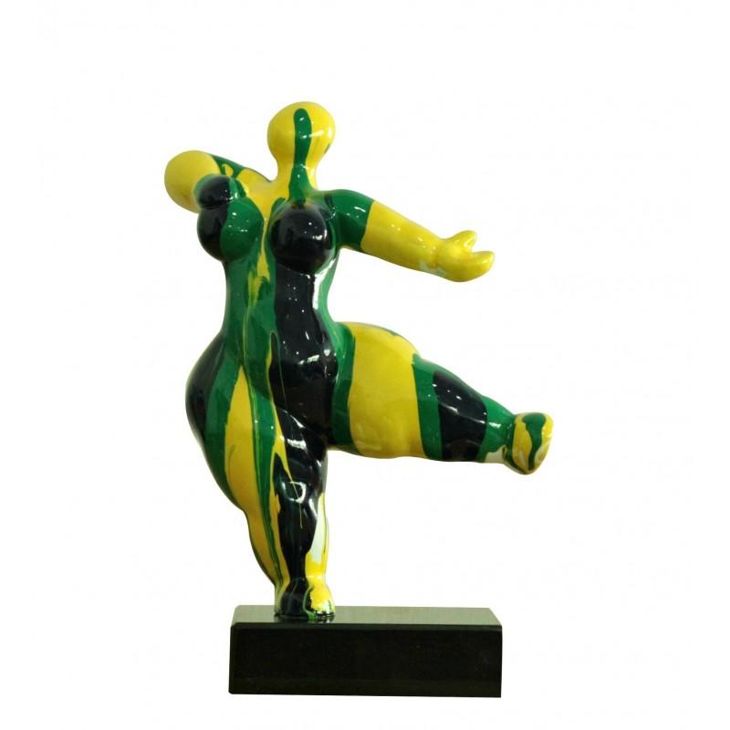 Statue femme figurine danseuse décoration jaune verte style pop art - objet design moderne