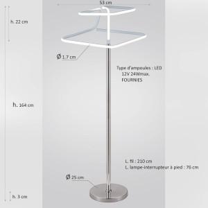 Lampadaire design et original LED losangé - Eclairage dynamique blanc froid - Classe énergétique A++ - DIAMOND