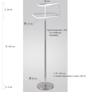 Lampadaire design et original LED angulaire - Eclairage dynamique blanc froid - Classe énergétique A++ - SQUARE