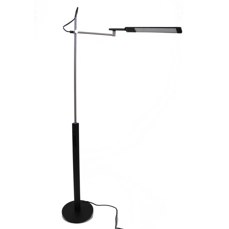 Liseuse lampadaire design et réglable LED noir et chrome - Eclairage dynamique blanc froid - Classe énergétique A++ - STRIPY