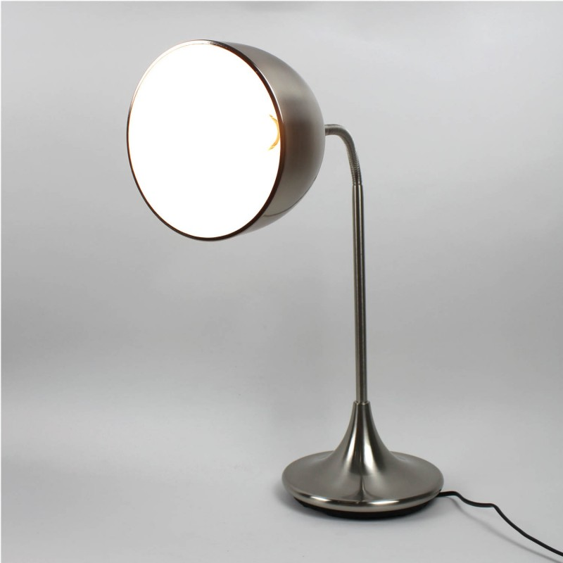 Lampe à poser flexible en métal - gris - finition nickel satiné - Modèle FLEXILUZ