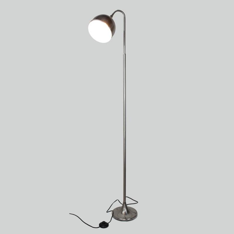 Lampadaire flexible en métal - gris - finition nickel satiné - Modèle FLEXILUZ