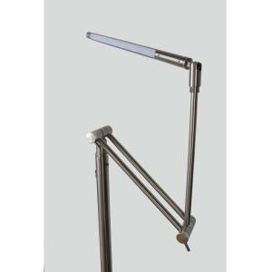 Lampadaire à partie réglable en 3 articulations - 6 LED blanches - métal finition nickel satiné - Modèle BRACCIO