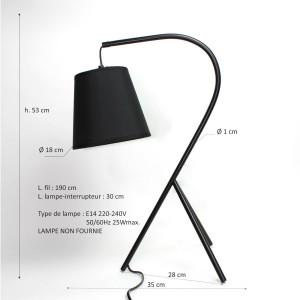 Lampe chevet design à trépied - abat-jour en suspension - Noir - Modèle CAMPANA