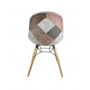 Lot de 2 chaises patchwork taupe - effet vieux cuir doux- style vintage - tendance industriel - factory - SIMON
