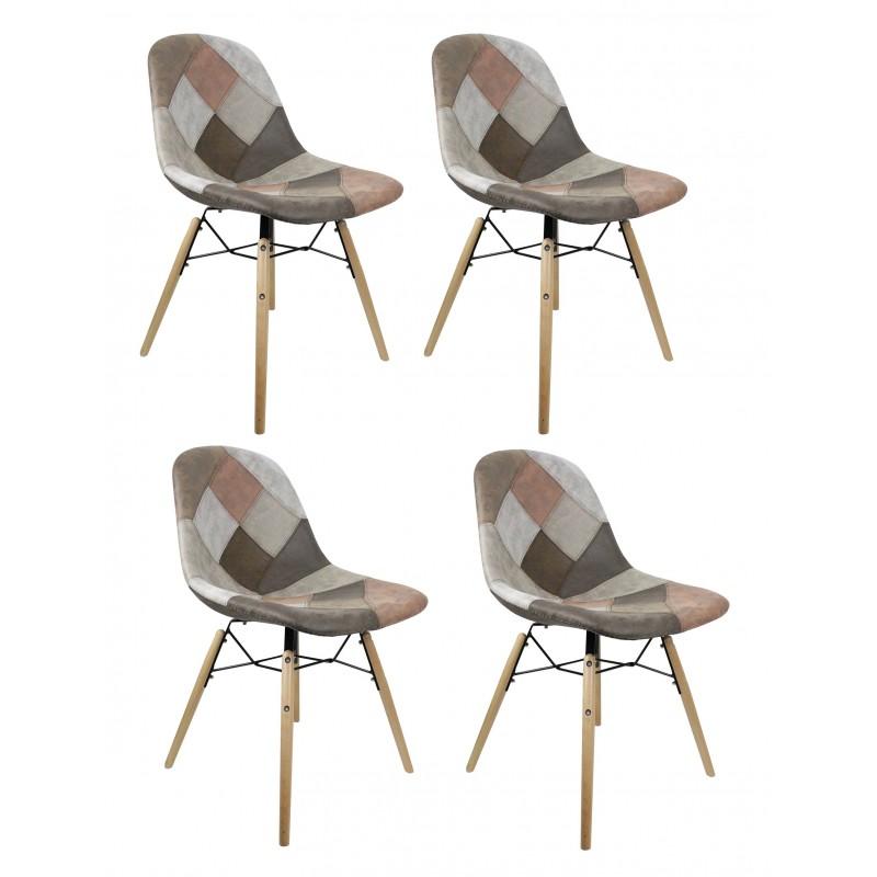 Lot de 4 chaises patchwork taupe - effet vieux cuir doux- style vintage - tendance industriel - factory - SIMON