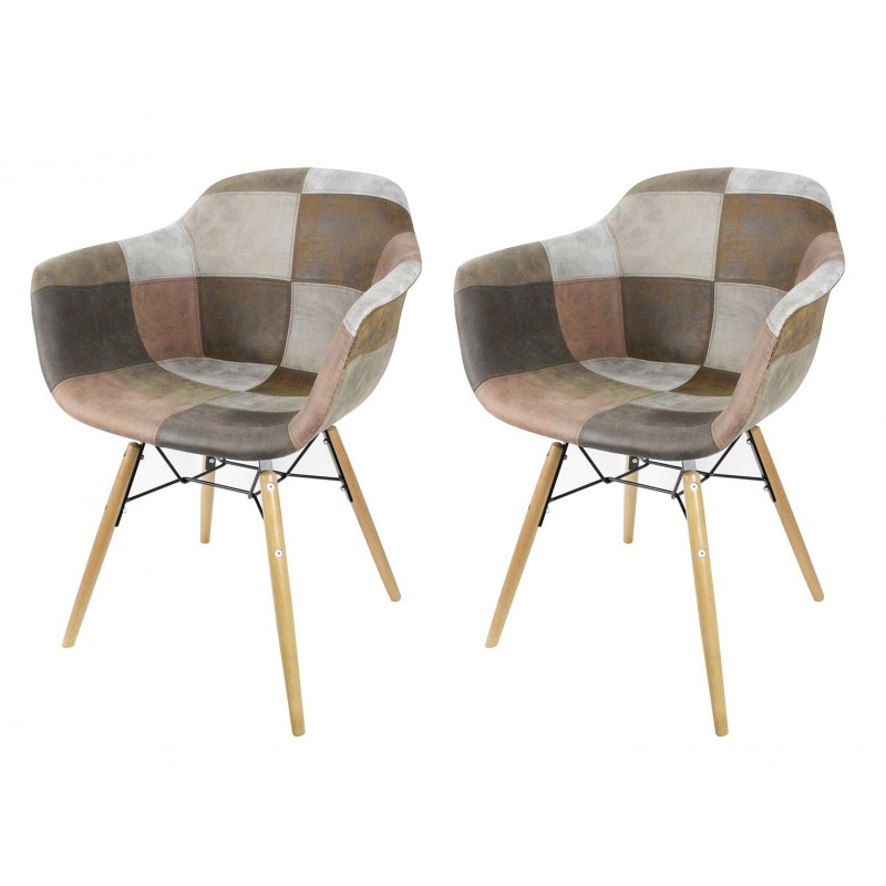 lot de 2 fauteuils patchwork taupe tendance industriel simon. Black Bedroom Furniture Sets. Home Design Ideas