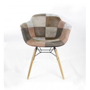 Lot de 2 fauteuils patchwork taupe - effet vieux cuir doux- style vintage - tendance industriel - factory - SIMON