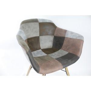 lot de 2 fauteuils patchwork taupe tendance industriel simon. Black Bedroom Furniture Sets. Home Design Ideas