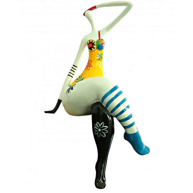 statuette femme assise figurine d coration blanche et multicolore style pop art objet design. Black Bedroom Furniture Sets. Home Design Ideas