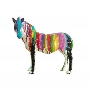 Zèbre statue décoration - couleur laquée jets de peinture multicolore