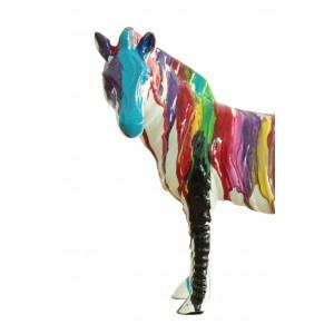 Zèbre statue décoration laquée jets de peinture multicolore