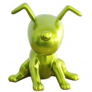 Petit chien vert métallisé assis - figurine décorative - objet design moderne