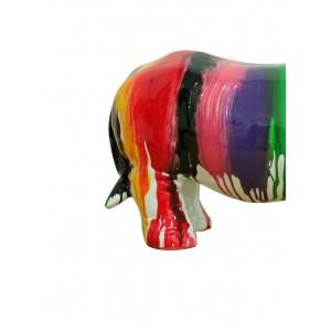 Rhinocéros statue laquée jets de peintures avec corne bleue