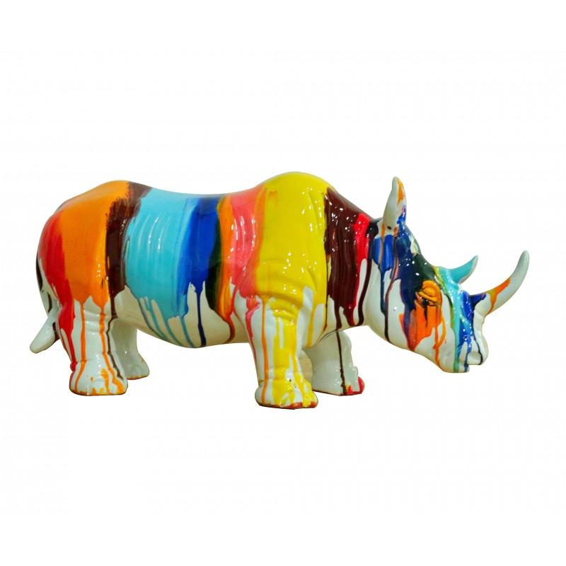 Rhinocéros statue décorative laquée jets de peintures multicolores