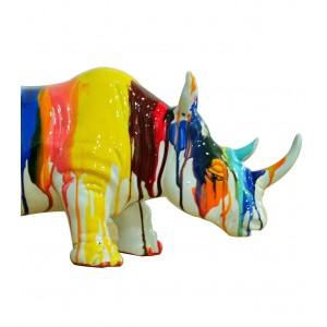 Rhinocéros statue décorative - laquée jets de peintures multicolores - objet design moderne