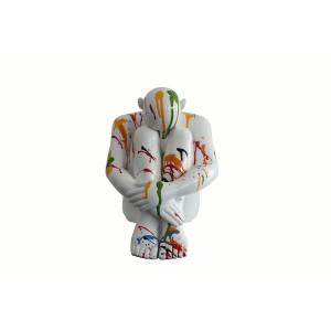Figurine statue homme blanc avec jets de peintures multicolores - objet design moderne
