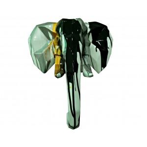 Tête éléphant décoration murale style cubique - blanc noir doré gris- objet design moderne