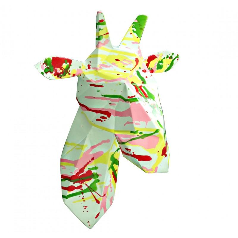 Tête Girafe Décoration Murale Style Cubique Blanche Et Tâches De