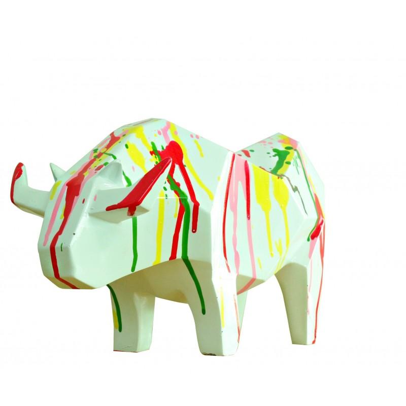 Statue taureau blanc décoration style cubique - blanc et jets de peintures - objet design moderne
