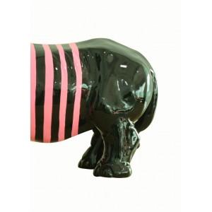 Statue rhinocéros décoration laquée noire et rose - objet design moderne