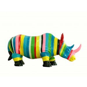 Statue rhinocéros décoration multicolore rayée corne rose - objet design moderne