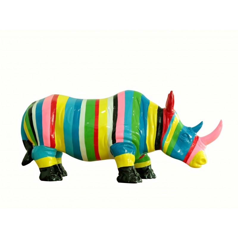 statue rhinoc ros d coration multicolore ray e corne rose. Black Bedroom Furniture Sets. Home Design Ideas
