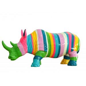 Statue rhinocéros décoration  multicolore corne verte - objet design moderne