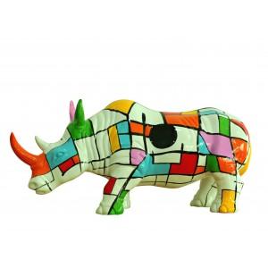 Statue rhinocéros décoration style pop art blanc multicolore - objet design moderne