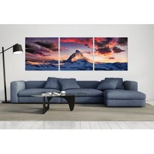 tableau plexiglas verre acrylique - panorama  Mont Cervin - montagne - nature - triptyque