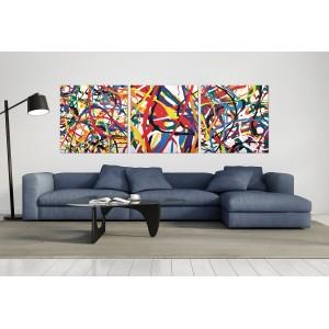 tableau plexiglas verre acrylique - peinture abstraite multicolore - triptyque - pop art - contemporain