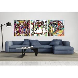 tableau plexiglas verre acrylique - peinture oiseaux multicolores - abstrait -  triptyque -contemporain