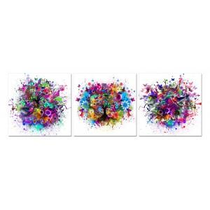 tableau plexiglas verre acrylique - nature multicolore - paysage - arbre - abstrait - contemporain -triptyque