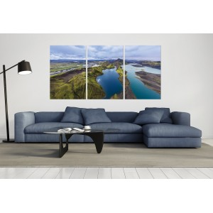 tableau plexiglas verre acrylique - photo paysage - panorama -vue aérienne - Islande -triptyque