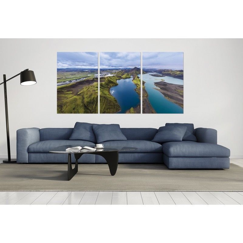 tableau plexiglas verre acrylique photo paysage vue a rienne islande triptyque. Black Bedroom Furniture Sets. Home Design Ideas