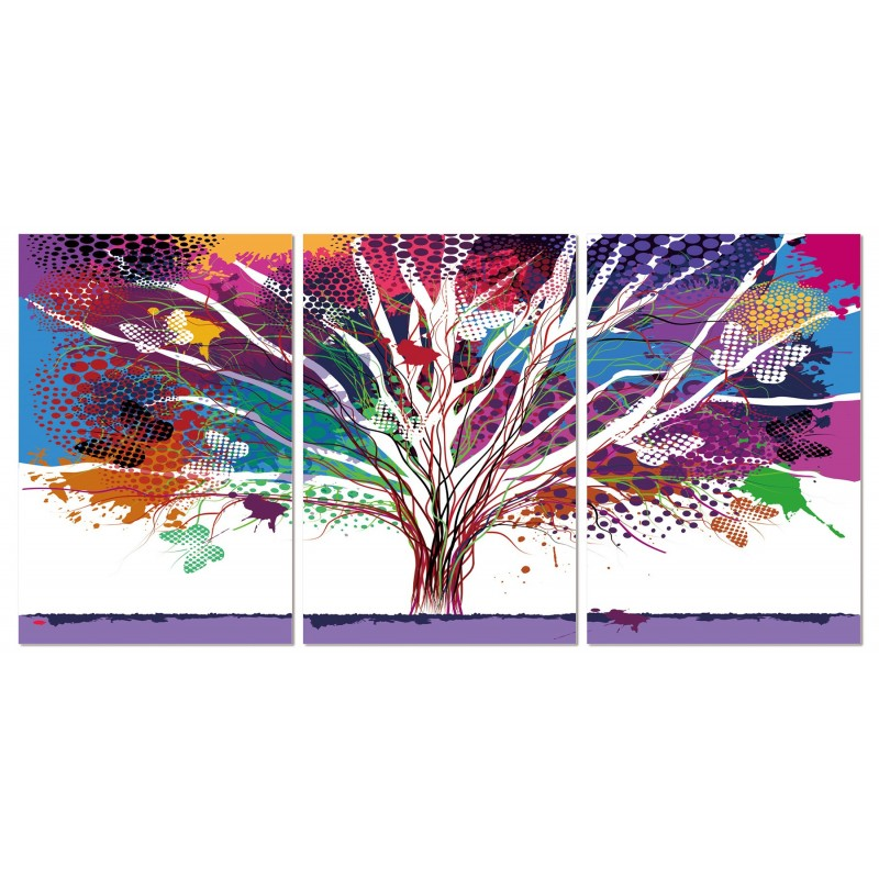 tableau plexiglas verre acrylique arbre multicolore triptyque. Black Bedroom Furniture Sets. Home Design Ideas