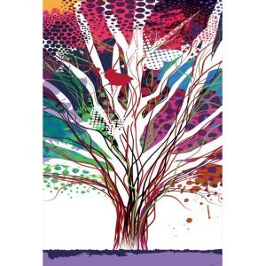 tableau plexiglas verre acrylique - arbre multicolore - design graphique contemporain - triptyque