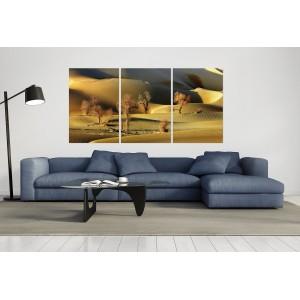 tableau plexiglas verre acrylique - Désert de sable - paysage - panorama -nature - triptyque