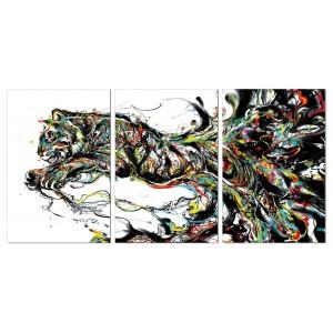 tableau plexiglas verre acrylique - visuel tigre bondissant - design graphique contemporain - triptyque