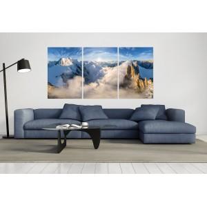 tableau plexiglas verre acrylique - photo montagnes - Alpes - paysage - Mont Blanc - Aiguille du Midi - triptyque