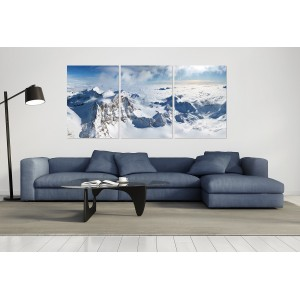 tableau plexiglas verre acrylique - photo montagnes - nature -Alpes - paysage - panorama - neige - triptyque