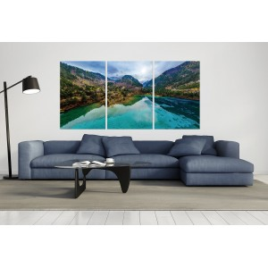 tableau plexiglas verre acryliquee - lac et montagne - nature - paysage - forêt - panorama - triptyque